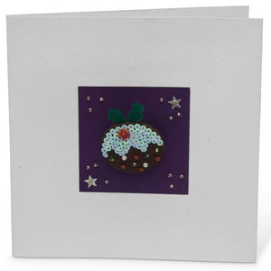 Sparkly Christmas Pudding Brooch greetings card