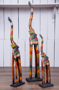 Stripey Elephant Wood Carvings - Choice of 3 sizes