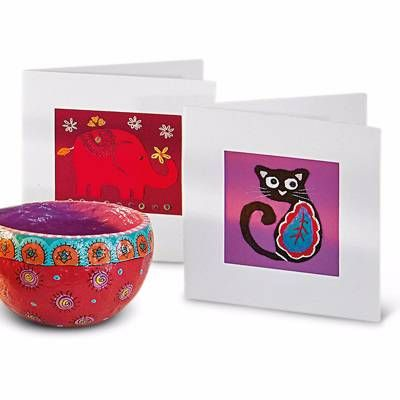 Cat & Elephant cards - Pack of 2