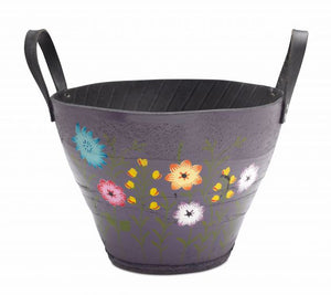Hand-painted recycled tyre planter (Floral design) - choice of 4 colours