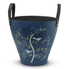 Hand-painted navy Tree of Life recycled tyre planter