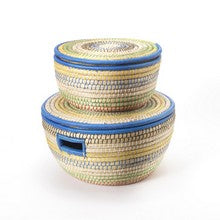 Blue-edged lidded baskets