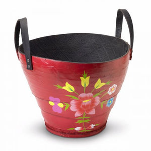 Hand-painted recycled tyre planter (Rose design) - Red