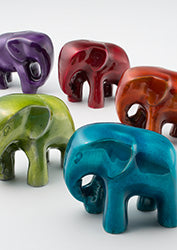 Recycled aluminium elephants (Small) - choice of 5 colours