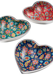 Flower Print Recycled Aluminium Heart Dish - Choice of 3 colours
