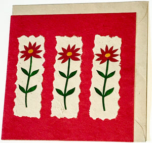 Hand made paper greetings card - Red flowers