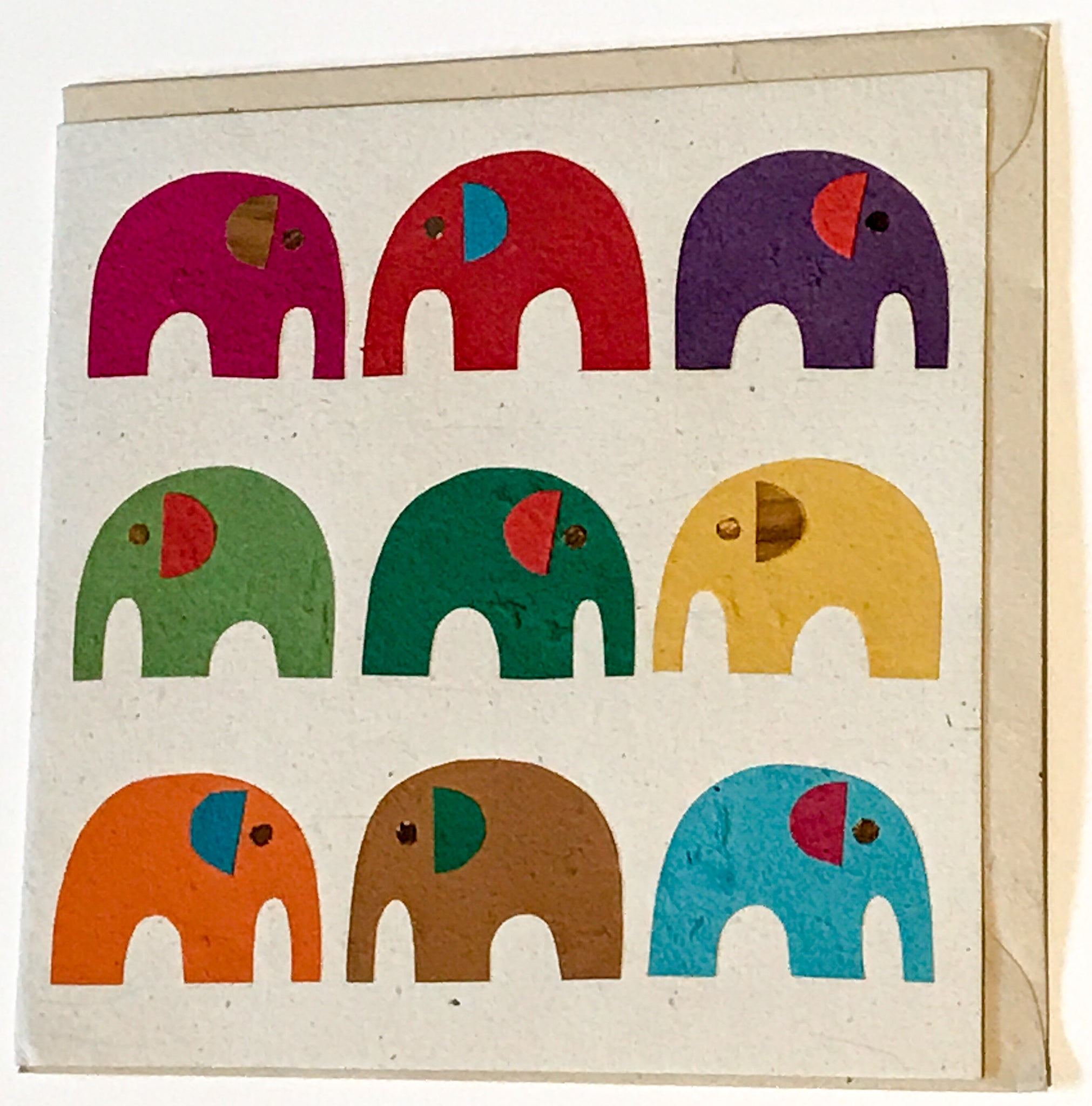 Hand made paper greetings card - Multi-coloured elephants