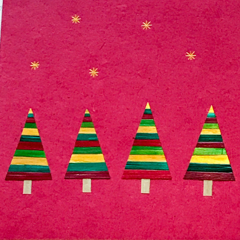 Hand made paper Christmas card - Christmas trees (Red)