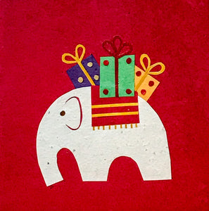 Hand made paper Christmas card - Elephant