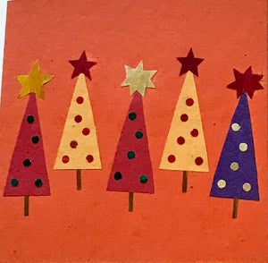 Hand made paper Christmas card - Christmas trees (Orange)