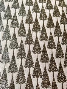 Luxurious recycled rag Christmas wrapping paper - Glitter Trees White/Silver
