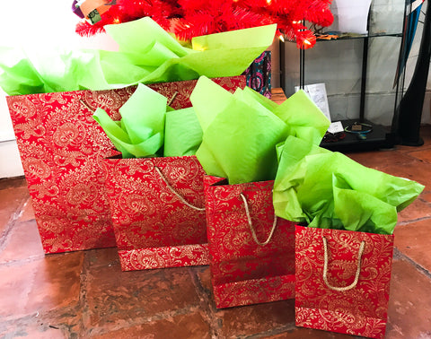 Recycled paper gift bags - Red and gold Splendour design (3 sizes)