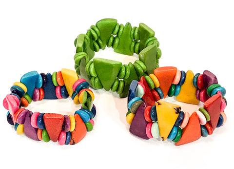 Pyramid Tagua Nut Bracelet - Choice of 2 colours