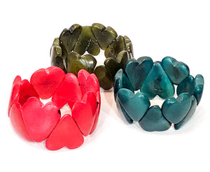 Heart Tagua Nut Bracelet - Choice of 4 colours