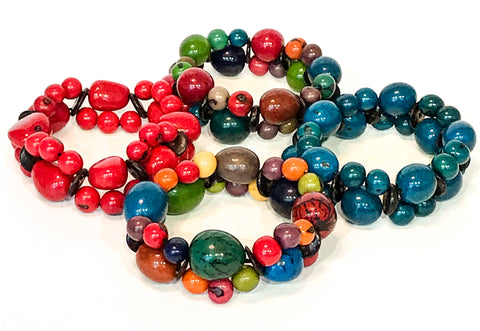 Bead and Tagua Nut Bracelet - Choice of 3 colours