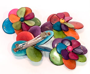 Multi-coloured Tagua Nut Flower Hair-slide