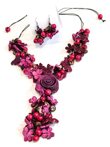 Fruit Peel Flower Necklace and Earring Set - Choice of 4 colours