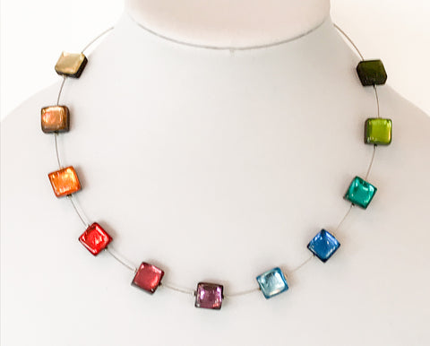 Rainbow square button necklace