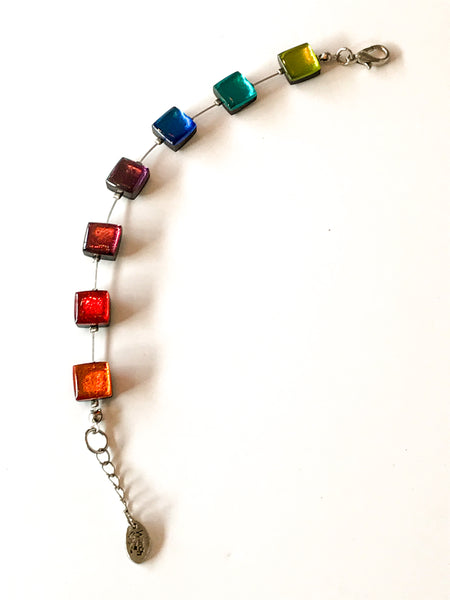 Rainbow square button bracelet