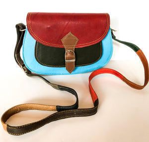 Recycled Leather Multi-coloured Saddle Bag - Medium