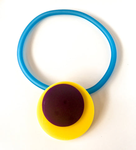 'Click' Contemporary Magnetic Double Pendant - Yellow/Purple Circles