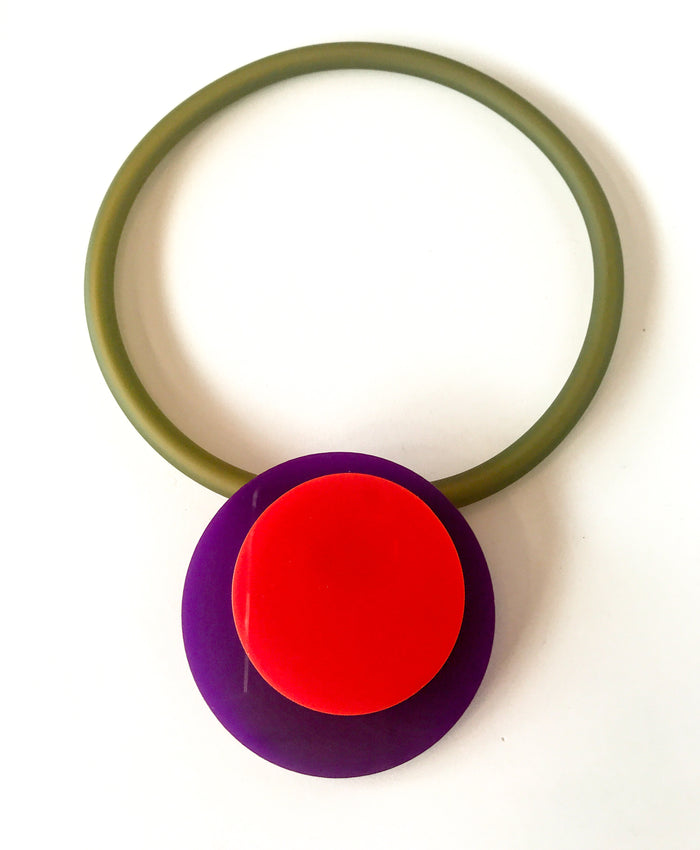 'Click' Contemporary Magnetic Double Pendant - Purple/Red Circles