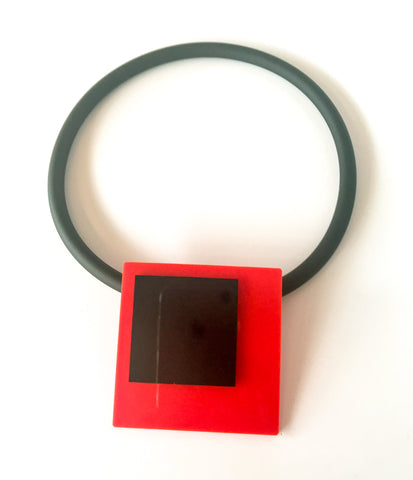 'Click' Contemporary Magnetic Double Pendant - Red/Black Squares