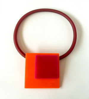 'Click' Contemporary Magnetic Double Pendant - Orange/Pink Squares