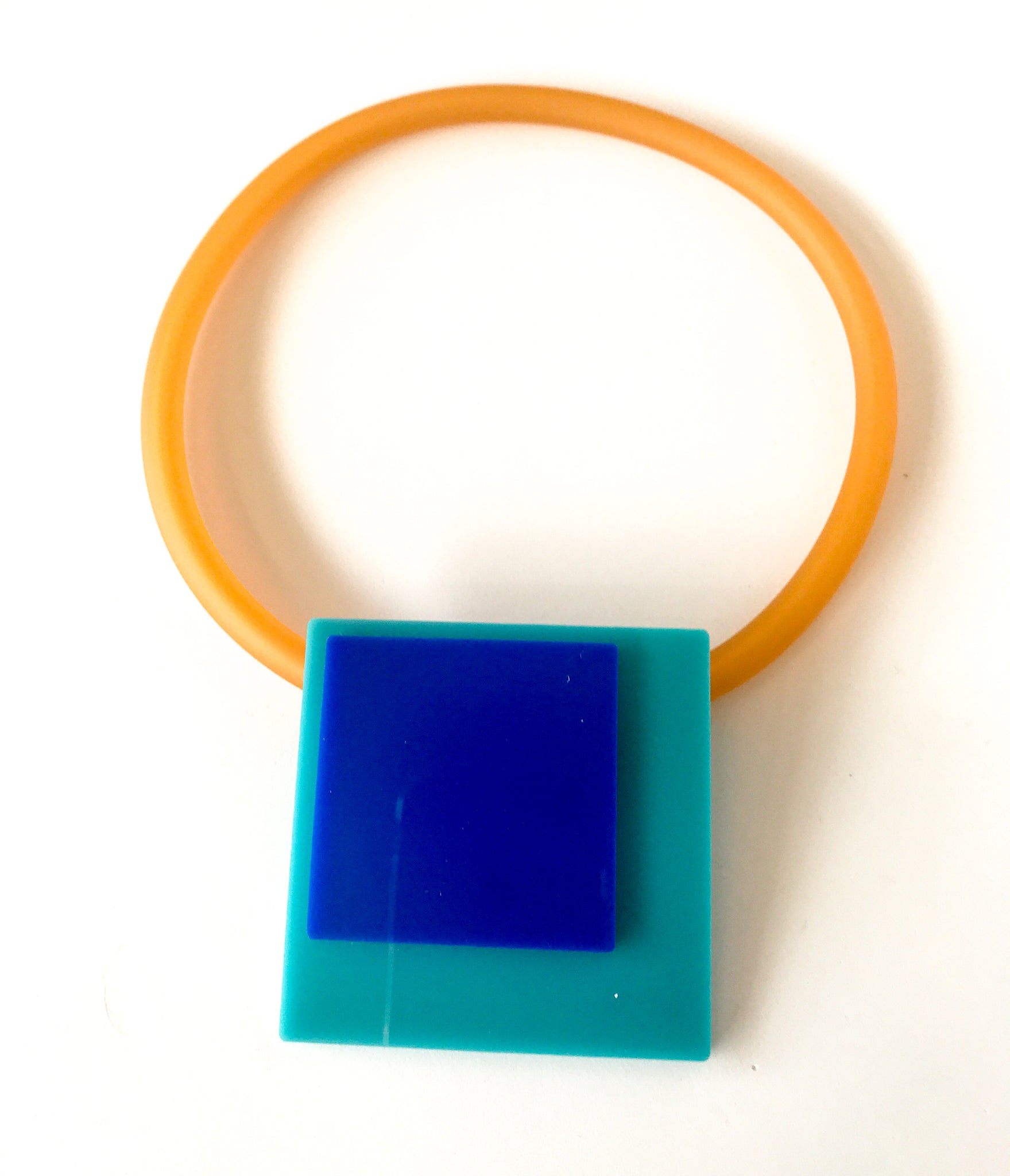 'Click' Contemporary Magnetic Double Pendant - Turquoise/Blue Squares