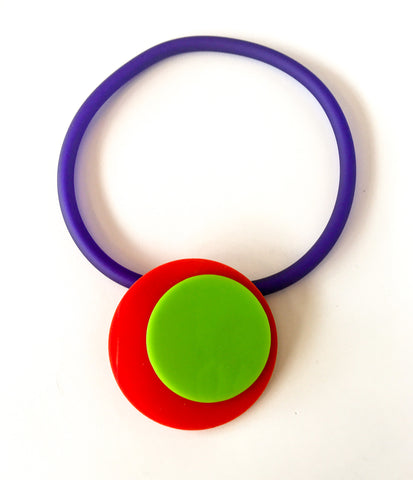 'Click' Contemporary Magnetic Double Pendant - Red/Lime Circles