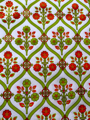 Luxurious Recycled Rag Wrapping Paper - Lime/Orange Floral Vine