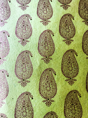 Luxurious Recycled Rag Wrapping Paper - Lime with Gold Paisley