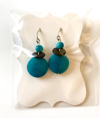 Tagua Nut Earrings - Teal Buttons