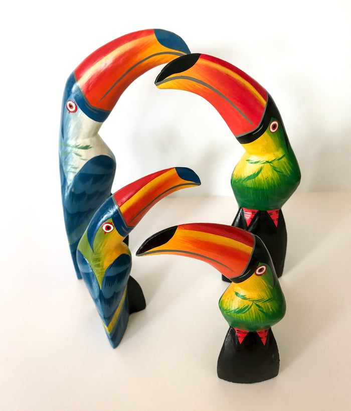 Carved Wooden Toucans - 2 Colours, 2 Sizes