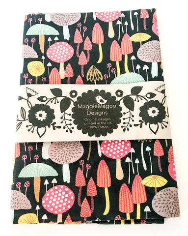 MaggieMagoo Designs - Dark Toadstools Tea Towel