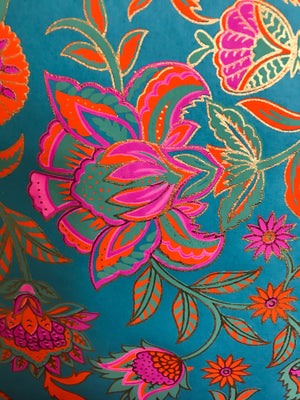 Luxurious Recycled Rag Wrapping Paper - Turquoise/Pink Floral Twist