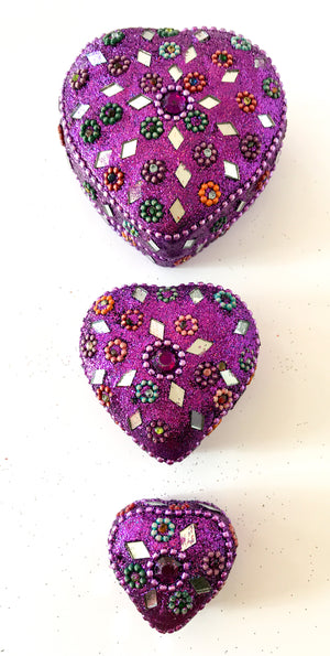 Set of 3 Glitter trinket boxes - Hearts