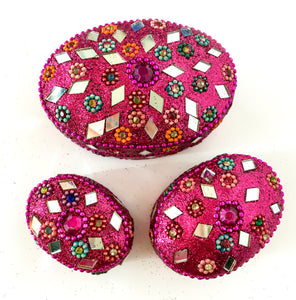 Set of 3 Glitter trinket boxes - Oval