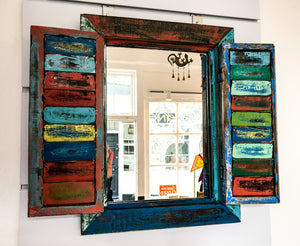 Funky Splash-painted Shuttered Mirror