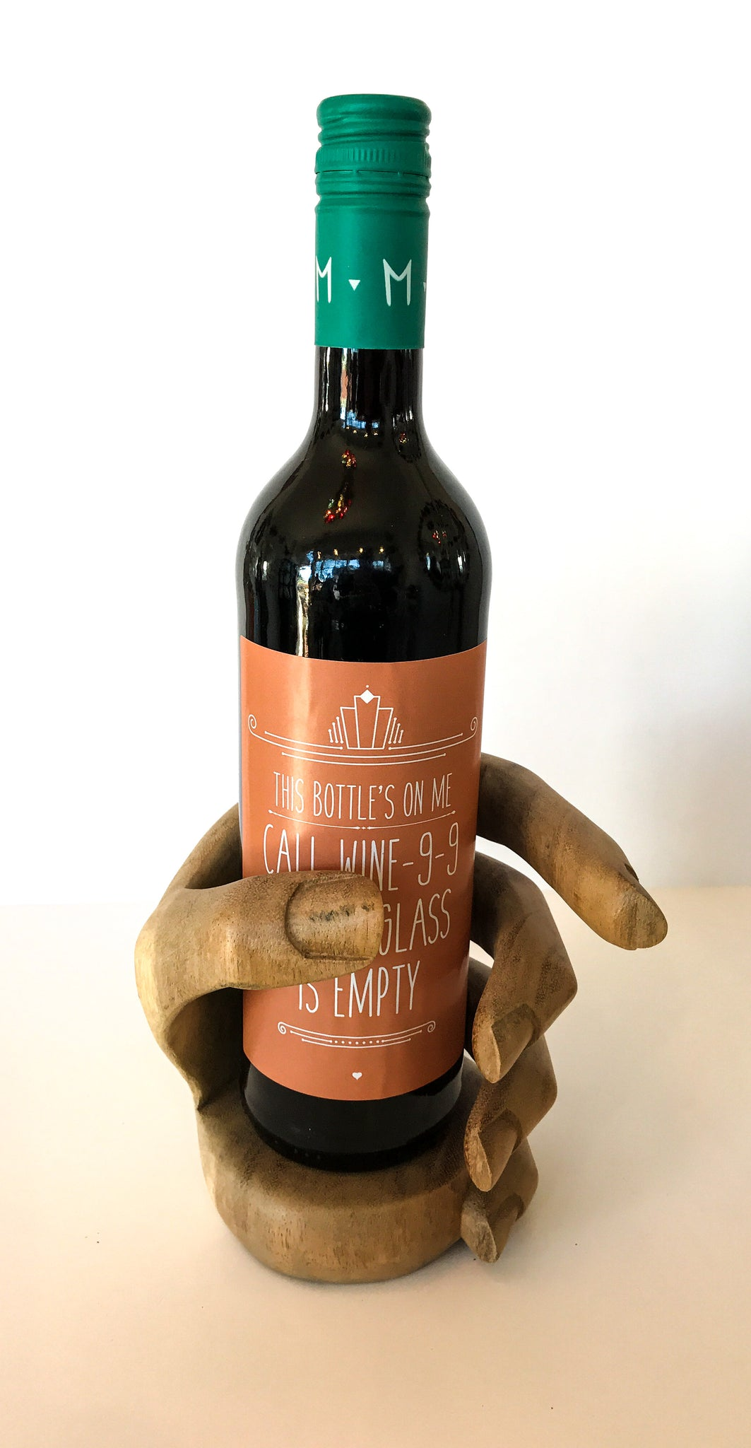Carved Wine Bottle Holder - Hand