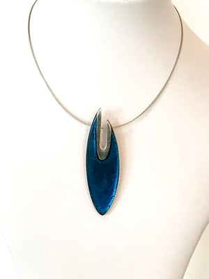 Pewter Curve Collection: Pendant Necklace - Choice of 6 colours