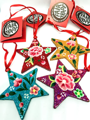 Kashmiri Glitter Star Christmas tree decorations