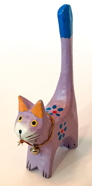 Hand-painted wooden cat ring holder/ornament - choice of 6 colours