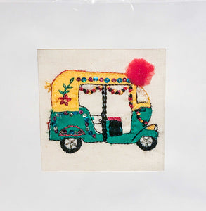 Embroidered Tuk Tuk Card