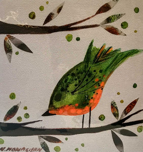 Nikki Monaghan Cards - Orange and Green Bird
