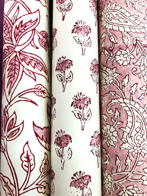 Luxury Block Printed Wrapping Paper - Blossom