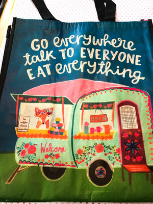 Recycled Plastic Grocery Tote - Go Everywhere, Speak to Everyone...