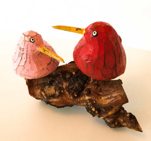 2 Bool Birds on Coffee Root Sculptures