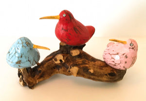 3 Bool Birds on Coffee Root Sculptures