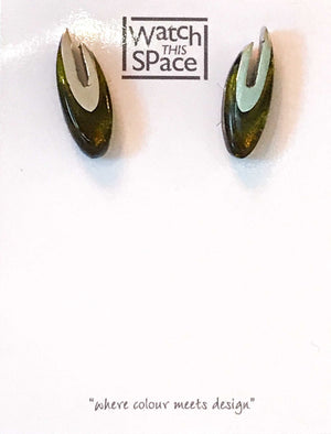Pewter Curve Collection: Stud Earrings - Choice of 6 colours